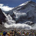 Avalanche at Mount Everest Basecamp